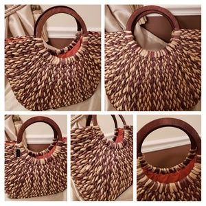 The Limited Straw Bag Tote Satchel Wood Handle NWT